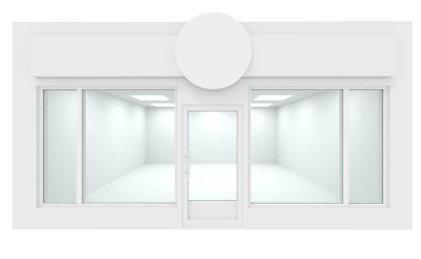 vitrine vitrine em branco - facade shop 3d - fotografias e filmes do acervo