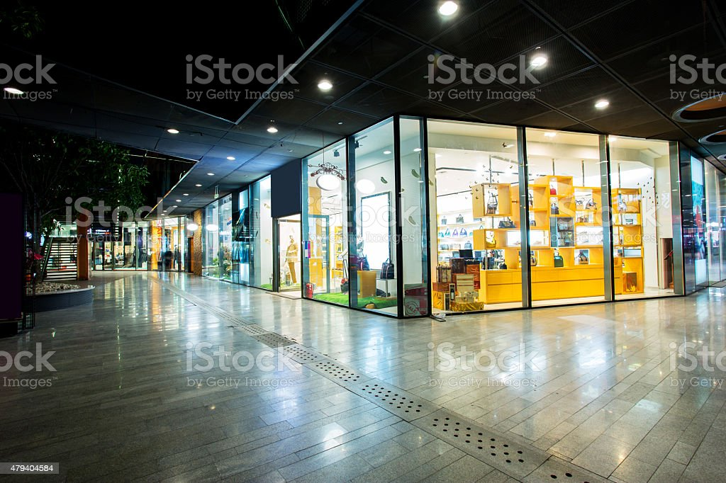 storefront in shopping mall stock photo