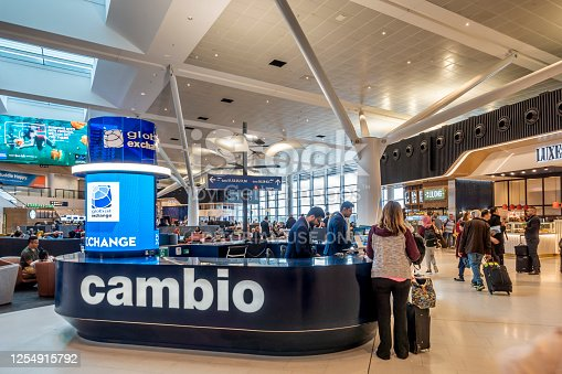 945598452 istock photo Storefront to Cambio Currency Exchange facility at Sydney Kingsford-Smith International Airport 1254915792