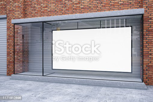 Storefront with Empty Banner Sign. 3D Render
