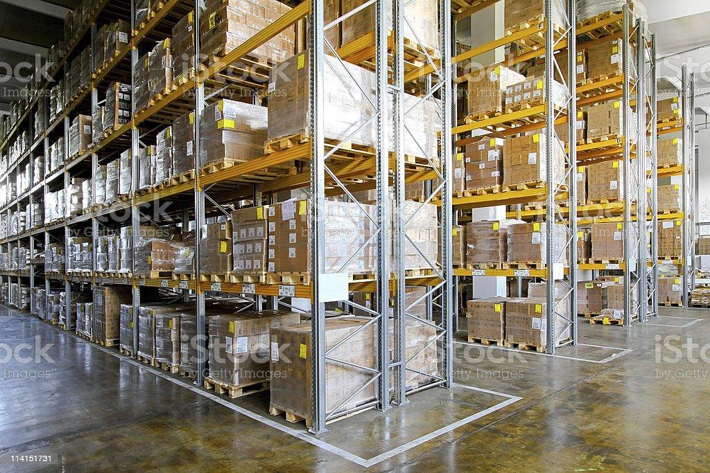 Storehouse shelves stock photo