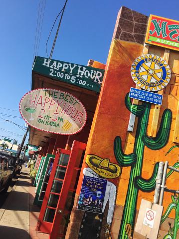 Stores And Restaurants In Kapaa Town On Kauai Hawaii Stock