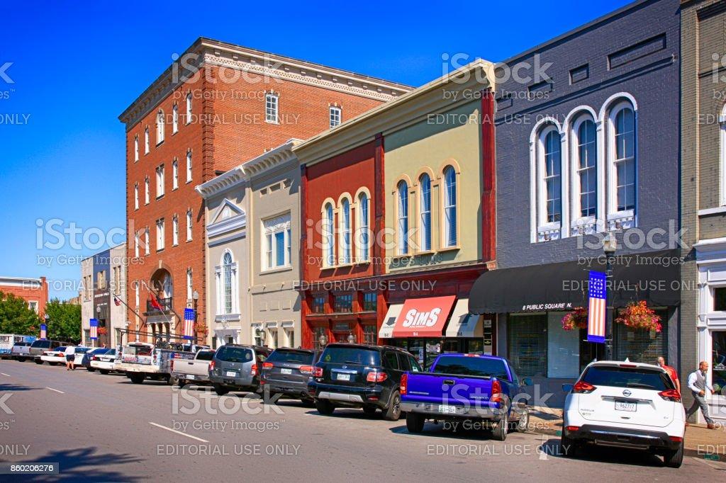 Stores around the Public Square in historic downtown Murfreesboro TN, USA stock photo