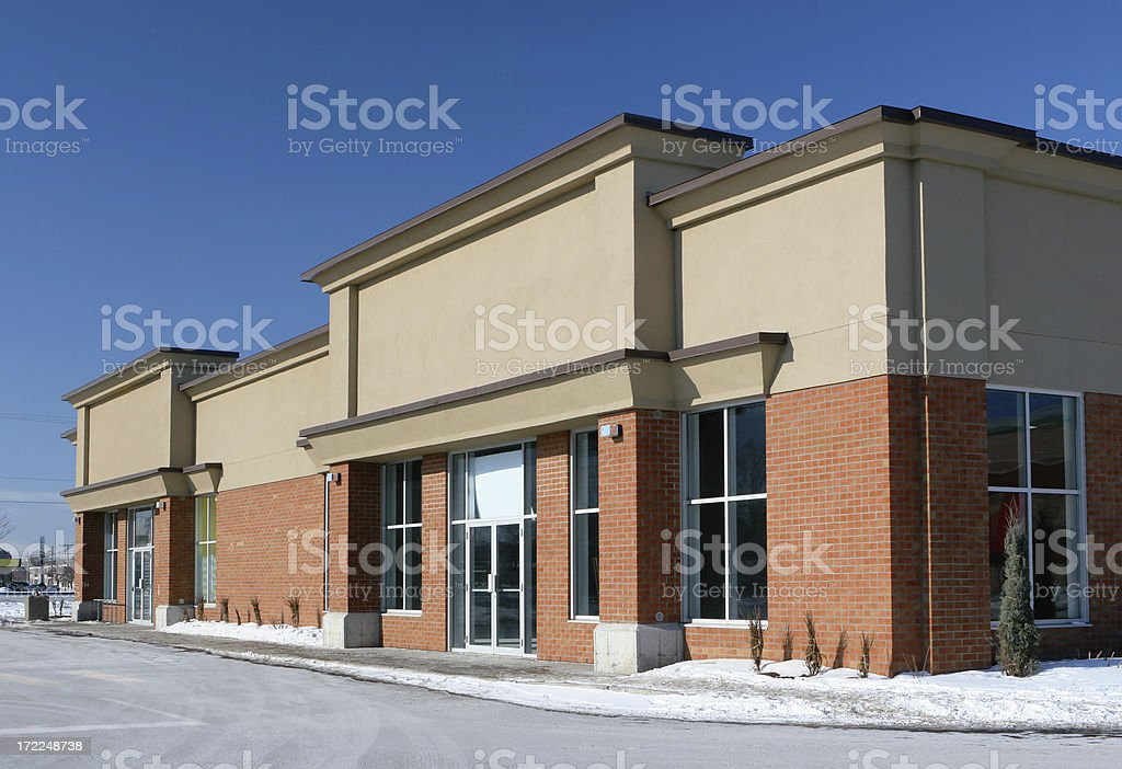 Stores Building Entrance in WInter stock photo