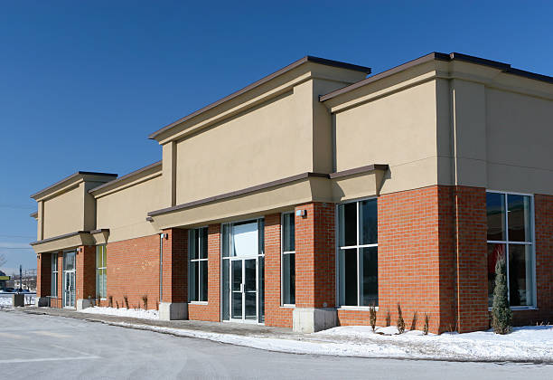 stores building entrance in winter - generic location stock pictures, royalty-free photos & images