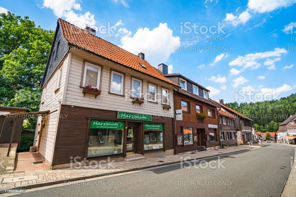 Stores in the idyllic city of Altenau stock photo