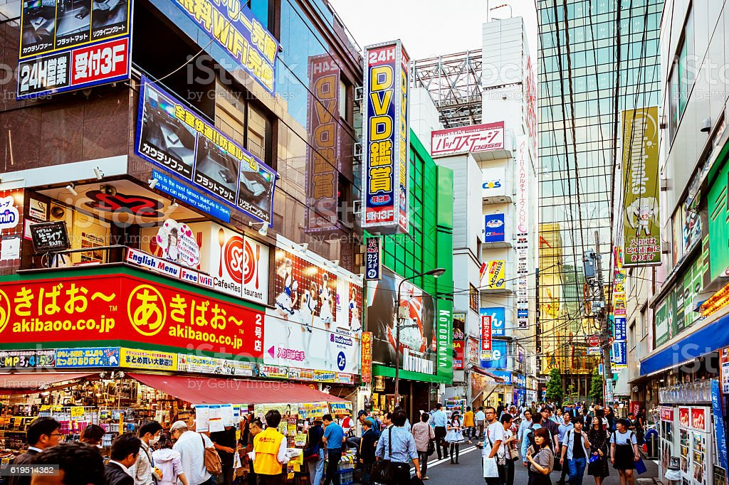 Stores in Tokyo, Akihabara crowded with people shopping stock photo