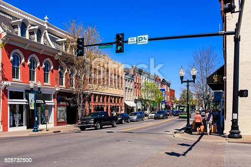Franklin, TN, USA - April 4, 2016: Stores on main street in downtown Franklin, Tennessee.