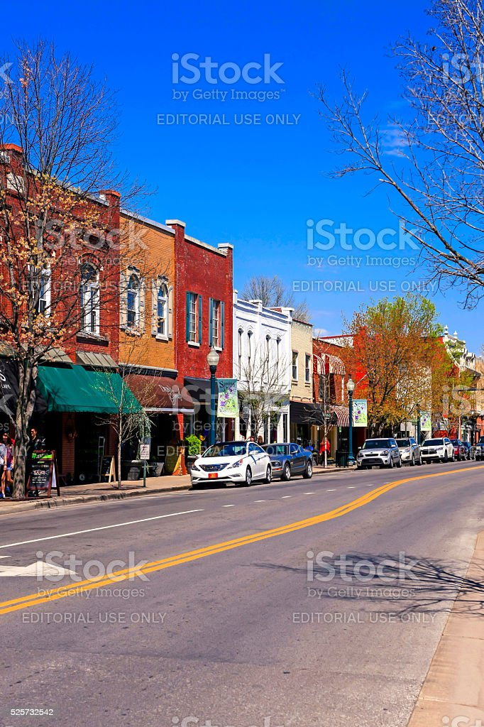 Stores on main street in downtown Franklin, Tennessee. stock photo