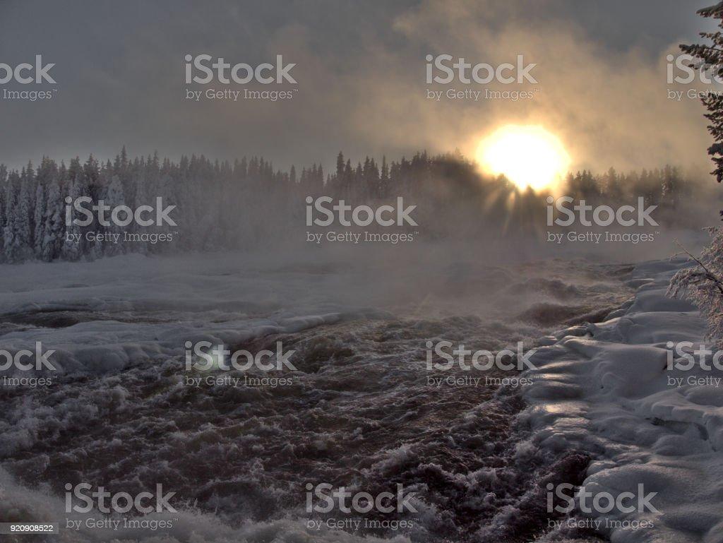 Storforsen, biggest waterfall in Sweden stock photo