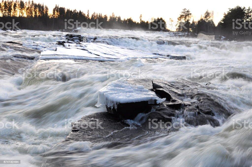 Storforsen  biggest waterfall in Swewden stock photo