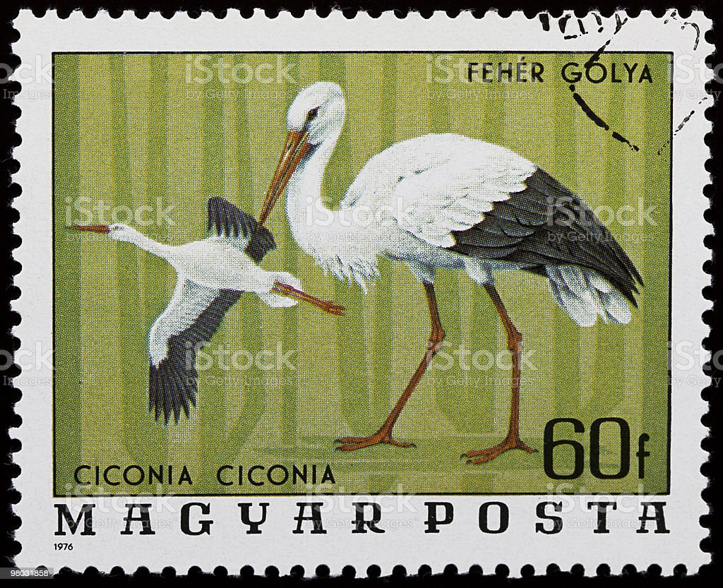 Storks stamp royalty-free stock photo
