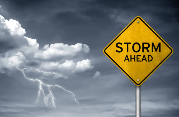 Storm ahead - street sign stock photo