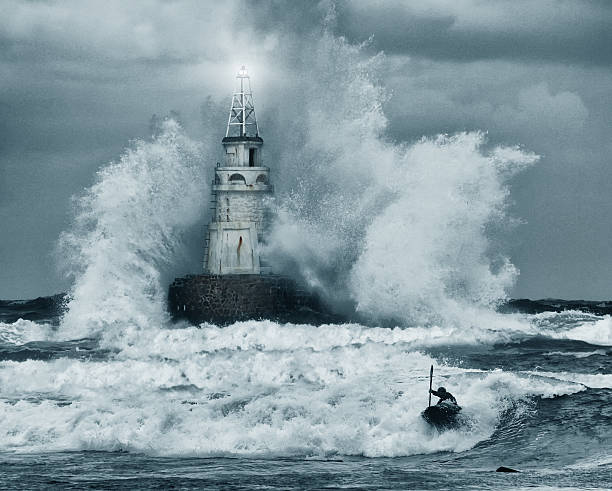 Tempête et phare - Photo