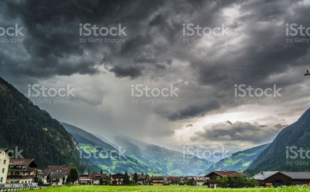 Storm and rain in the Alps, Austria stock photo