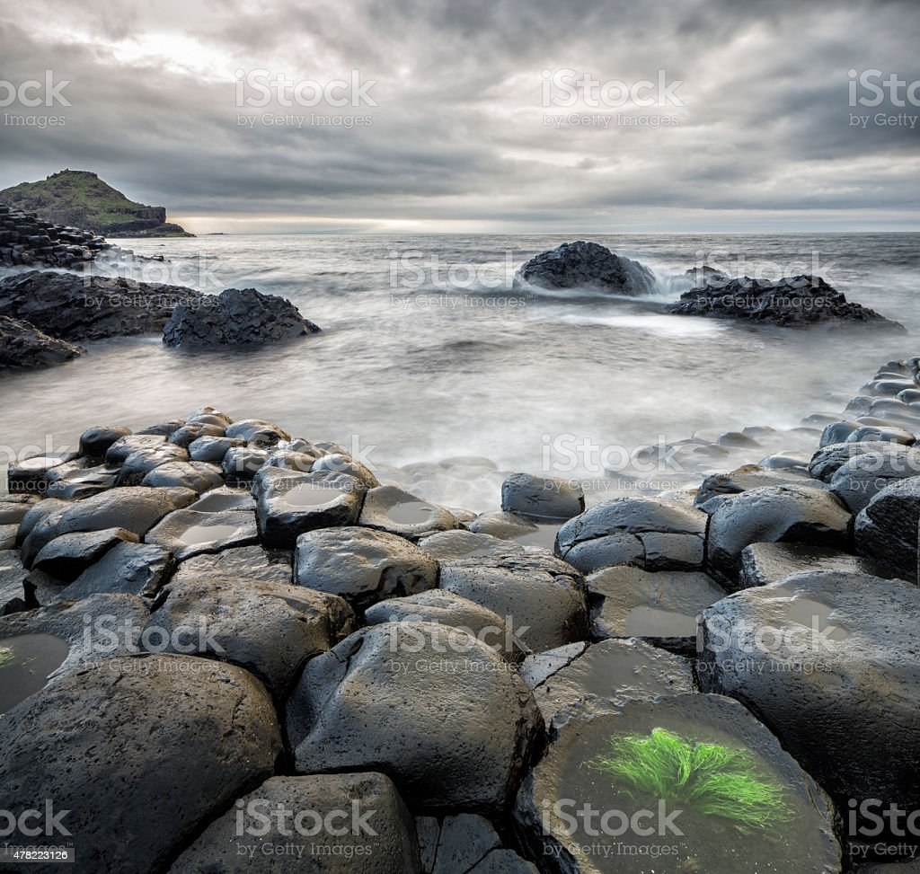 Storm at Giants Causeway, Northern Ireland stock photo