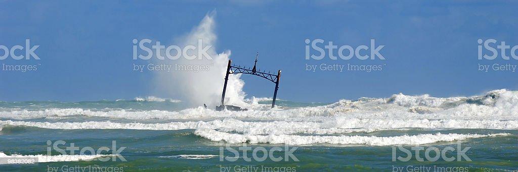 Storm at sea and ship wreck royalty-free stock photo