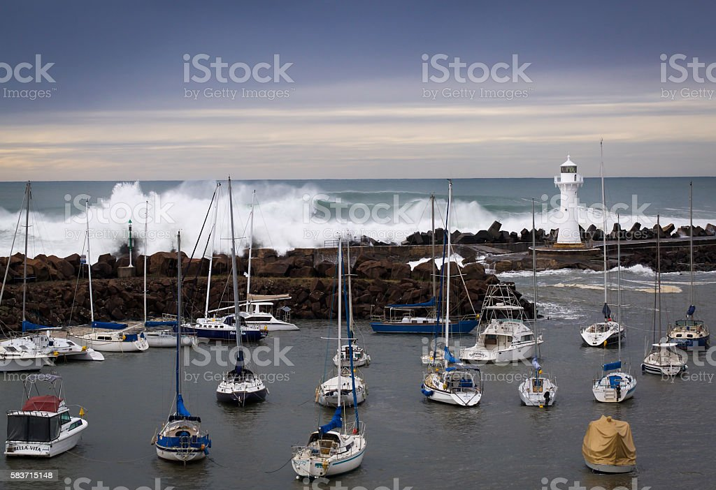 storm at the harbour stock photo