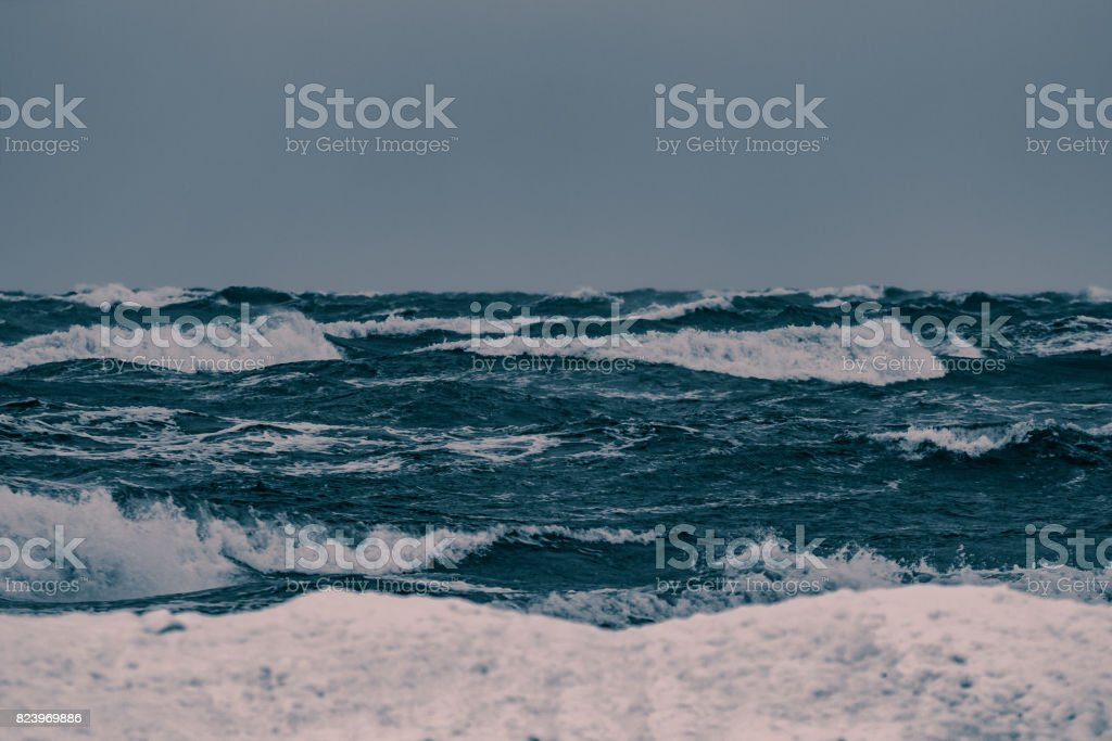 Storm at the sea stock photo