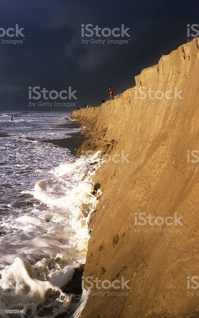 Storm beating the Dutch coastline royalty-free stock photo