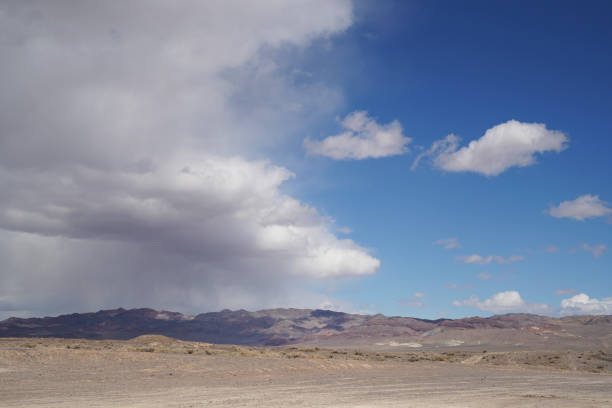 A storm blows in to the high desert in rural Nevada stock photo