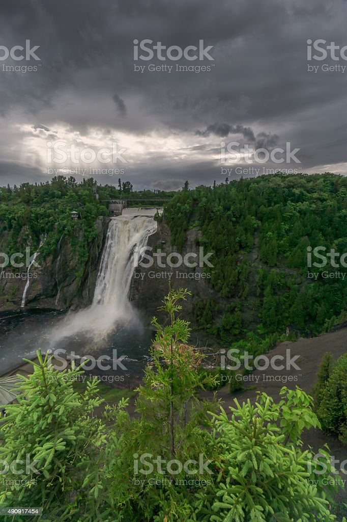Storm Breaks at Montmorency Falls stock photo