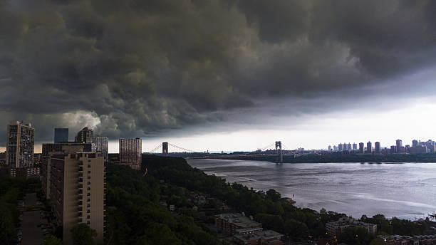 Storm Brewing Over The Hudson River Manhattan stock photo