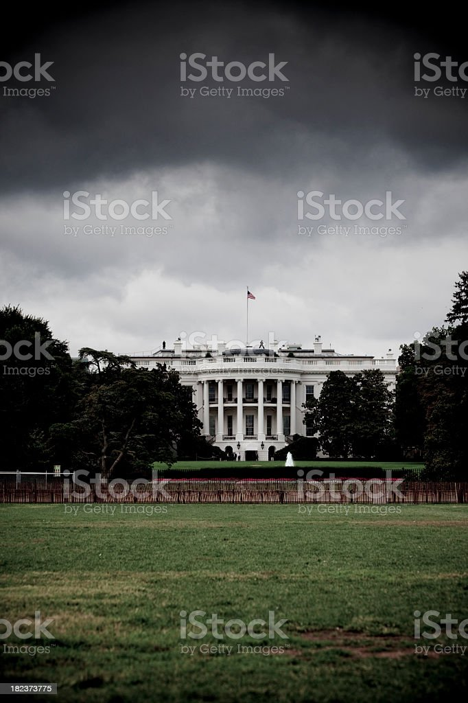 Storm brewing over the White House stock photo