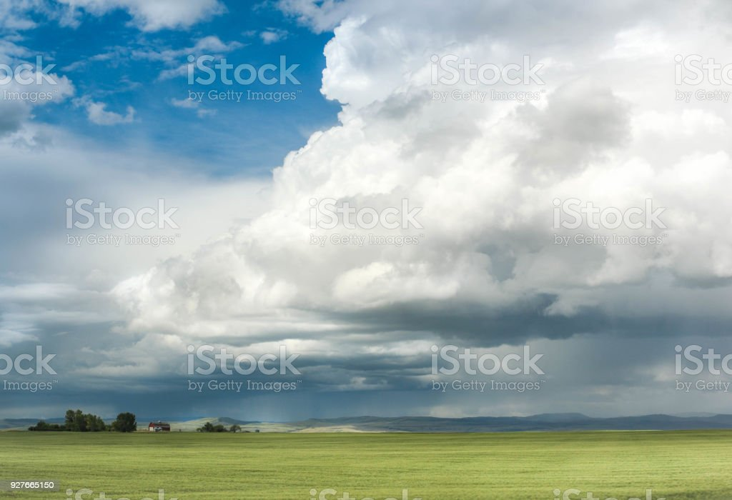 Storm Builds up over Alberta Prairie stock photo