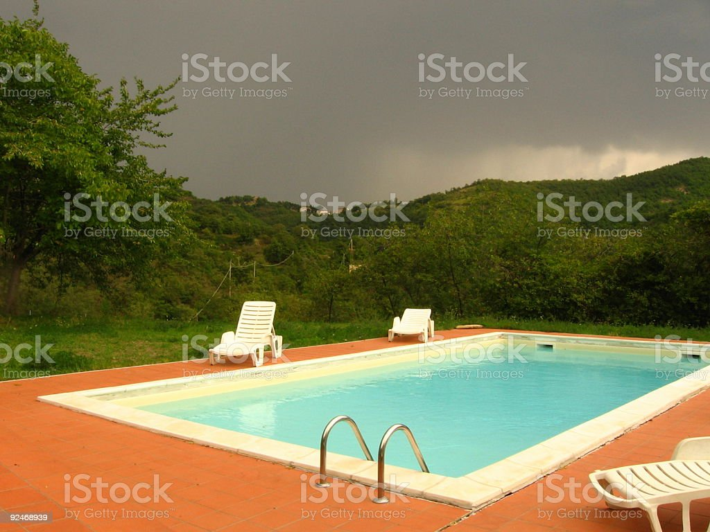 Storm by the pool royalty-free stock photo