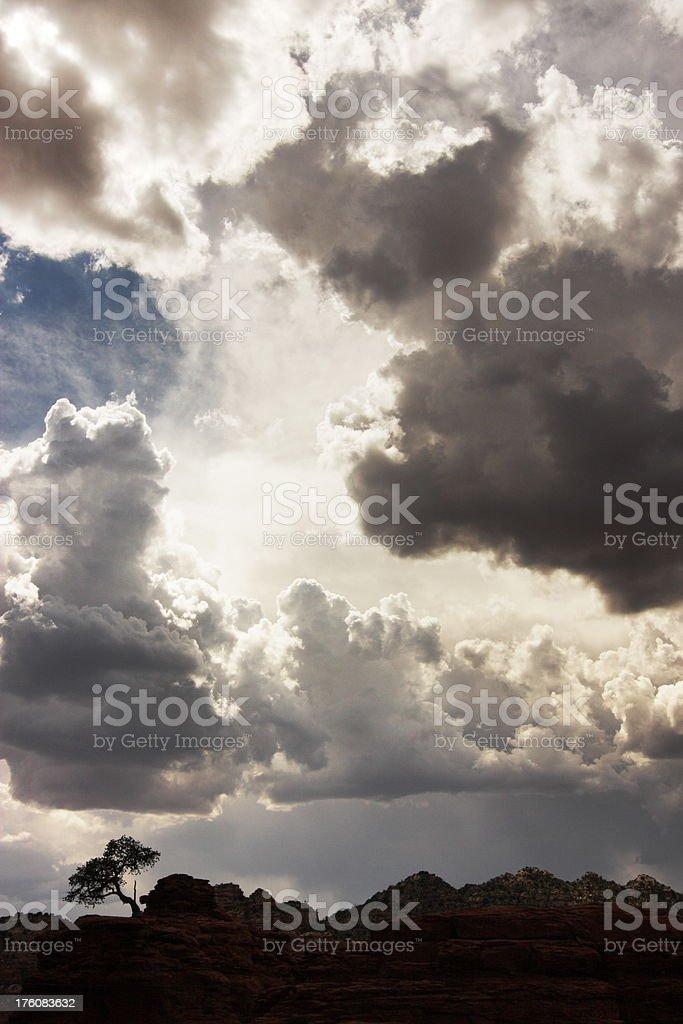 Storm Cloud Desert Landscape Silhouette royalty-free stock photo