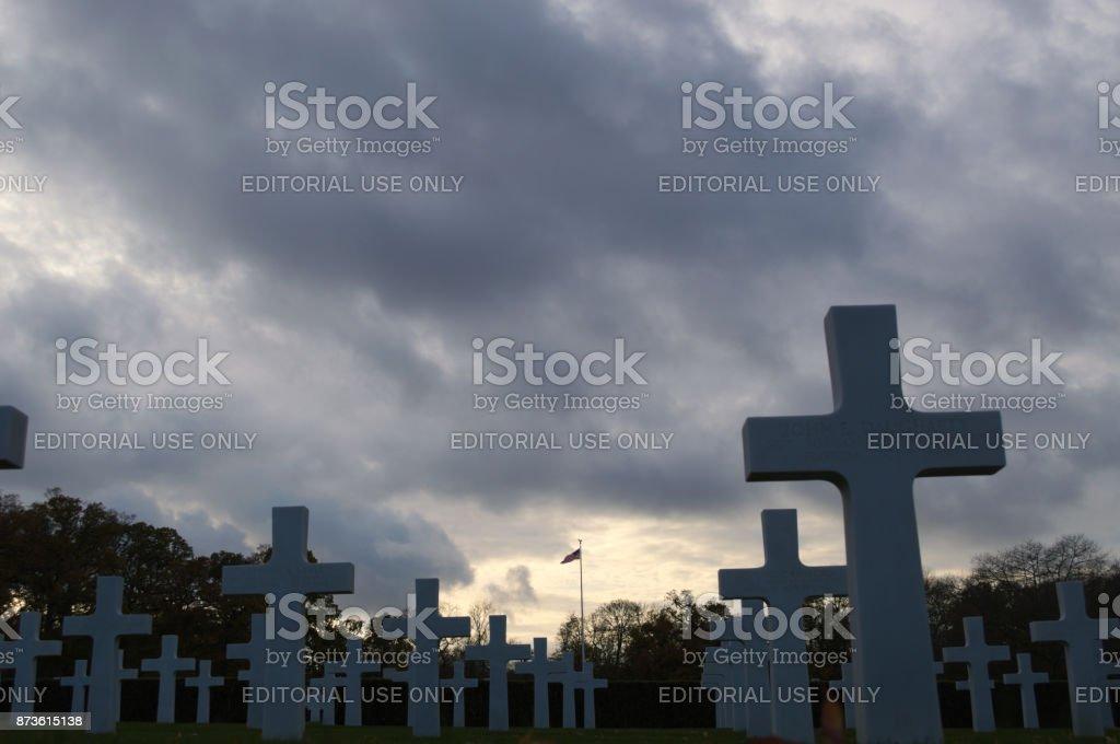 storm cloud with headstones stock photo