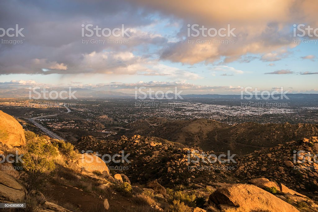 Storm Clouds above Los Angeles California stock photo