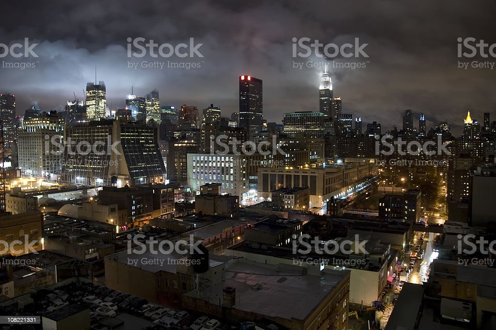 Storm Clouds Above New York City at Night royalty-free stock photo