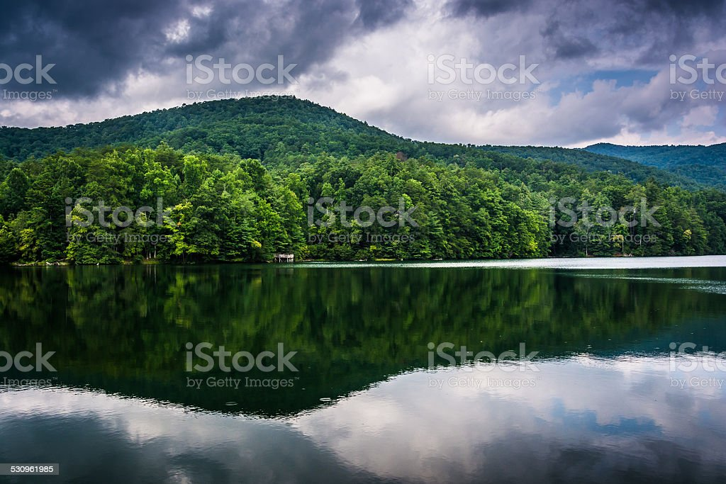 Storm clouds and mountains reflecting in Unicoi Lake, at Unicoi - Royalty-free 2015 Stock Photo