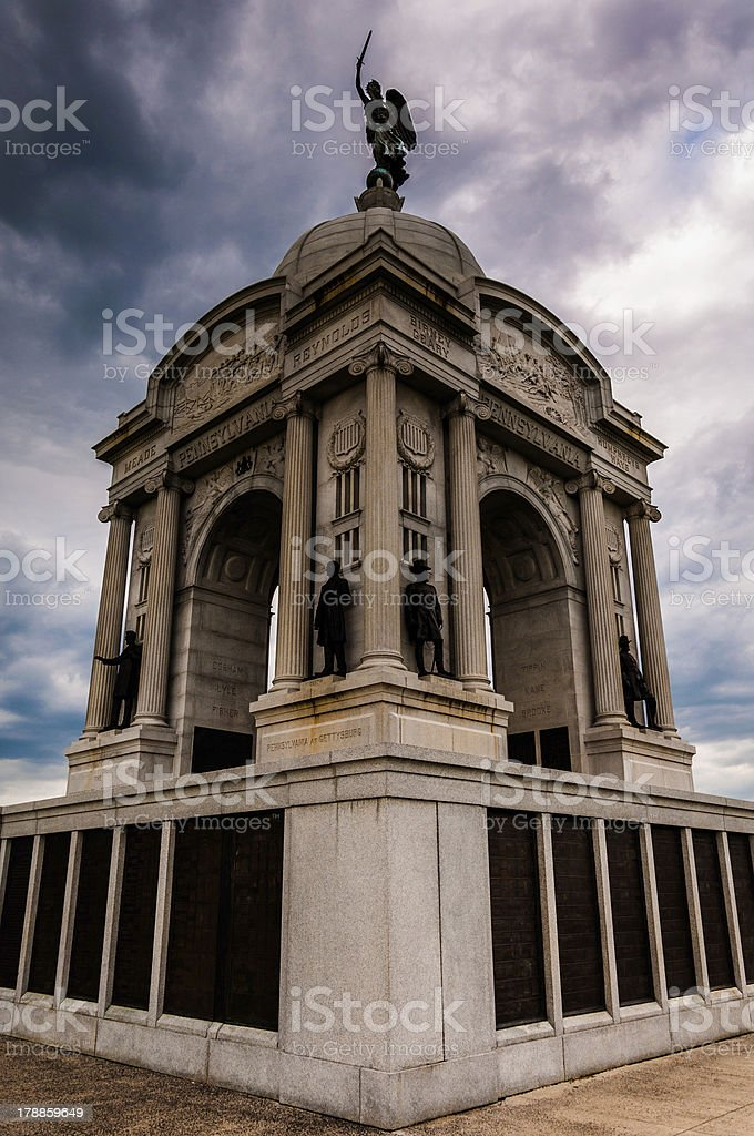 Storm clouds behind the Pennsylvania Memorial, Gettysburg, Pennsylvania. royalty-free stock photo