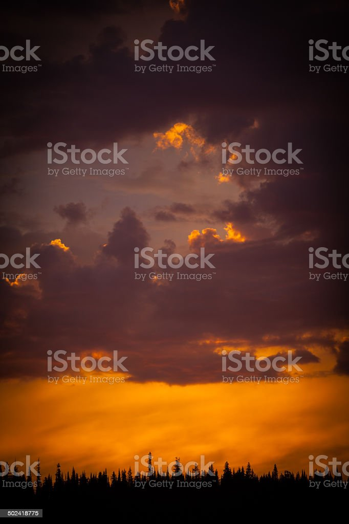 Storm clouds clearing at dawn. stock photo