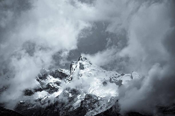 Storm Clouds Gather Around A Mountain Near Huaraz In Peru stock photo