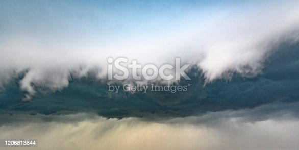 1089986346 istock photo Storm clouds in the sky with a shelf cloud rolling forward 1206813644