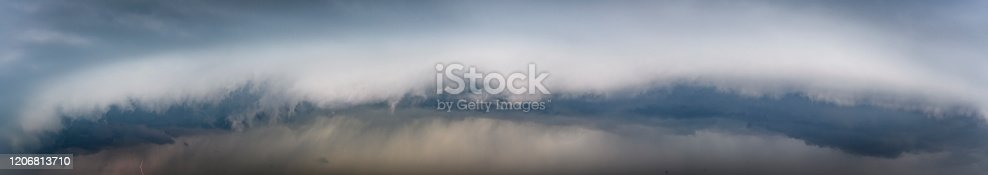 1089986346 istock photo Storm clouds in the sky with a shelf cloud rolling forward 1206813710