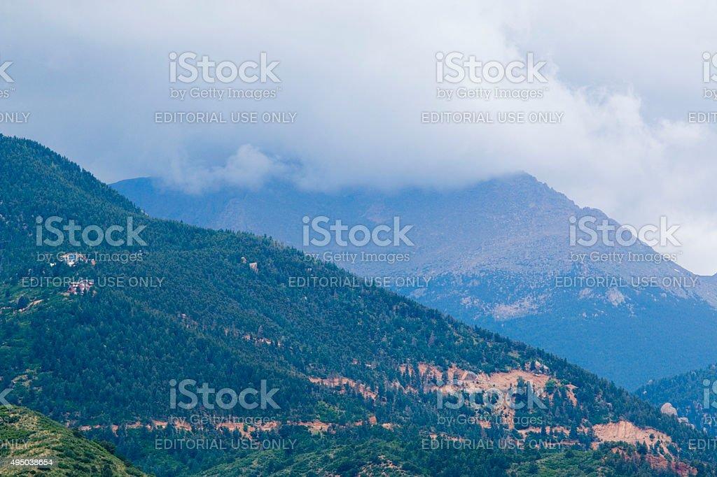 Storm Clouds on Pikes Peak Colorado stock photo