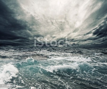 istock Storm clouds over a churning ocean 111968529