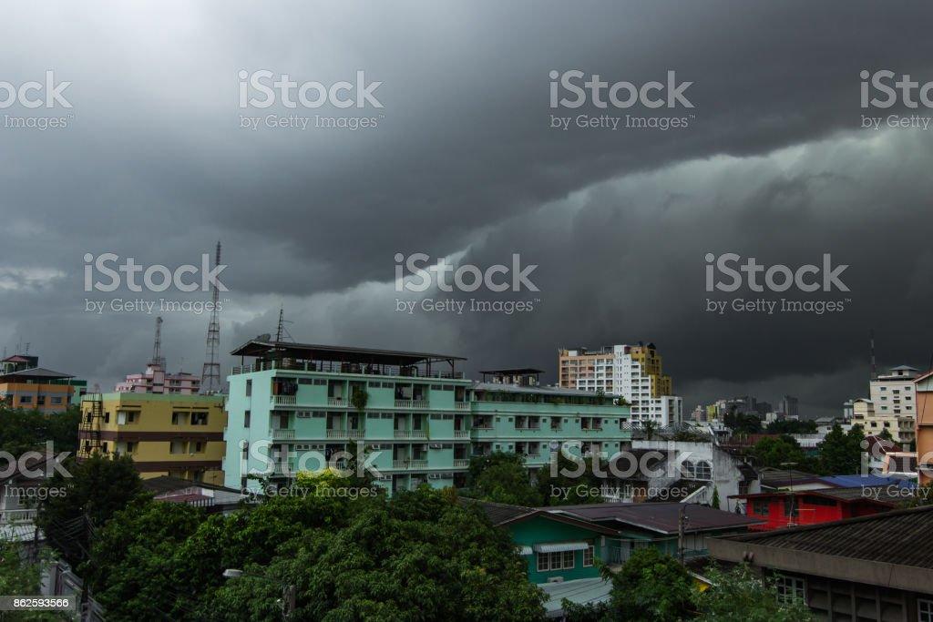 Storm clouds over Bangkok city stock photo