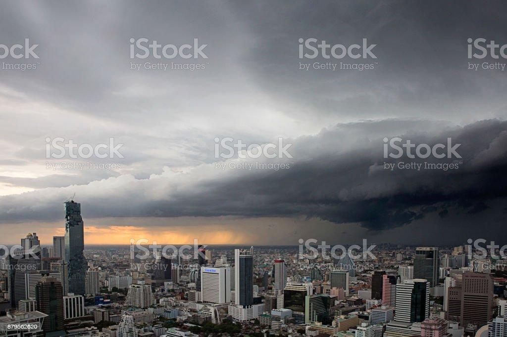 Storm clouds over Bangkok stock photo