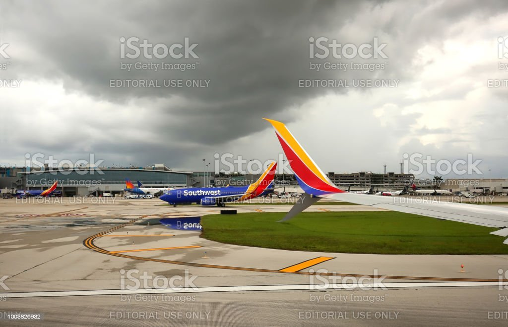 Storm clouds over Fort Lauderdale Airport stock photo