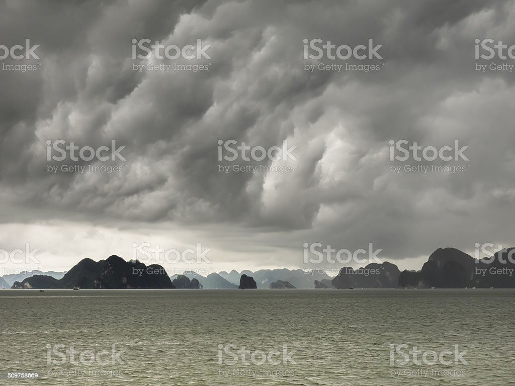 Storm clouds over Halong Bay stock photo