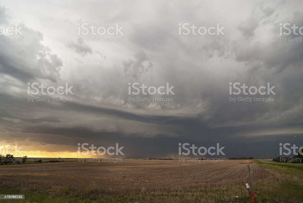 Storm clouds over Kansas plains stock photo
