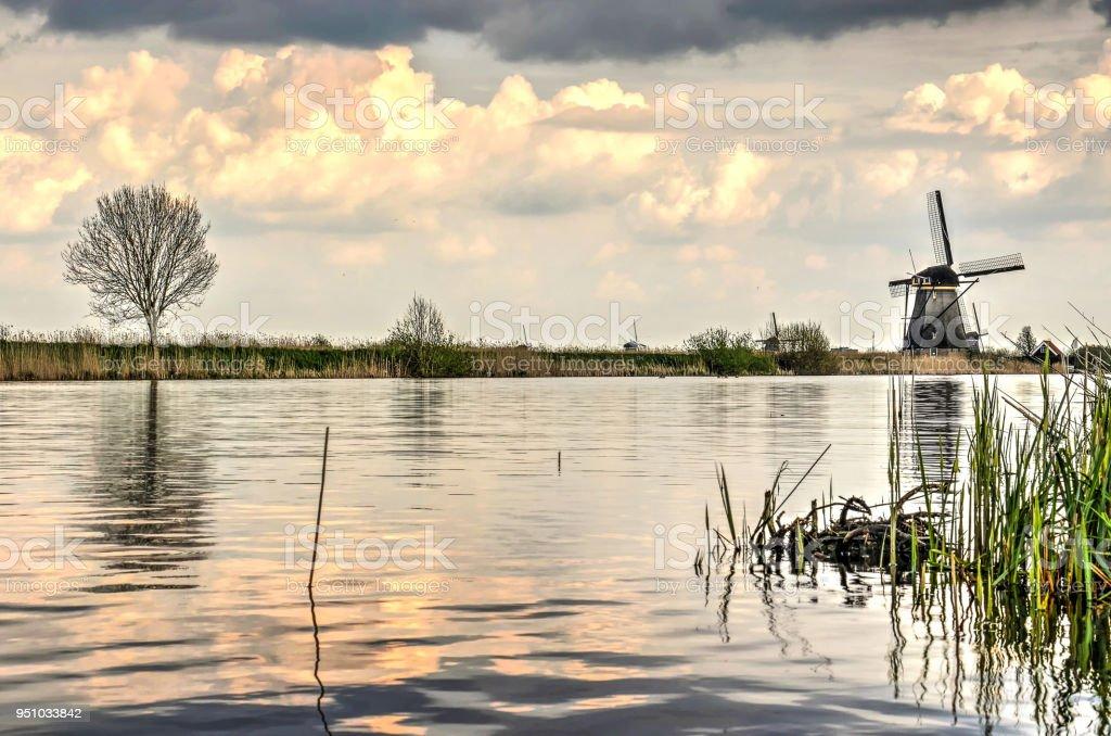 Storm clouds over Kinderdijk stock photo