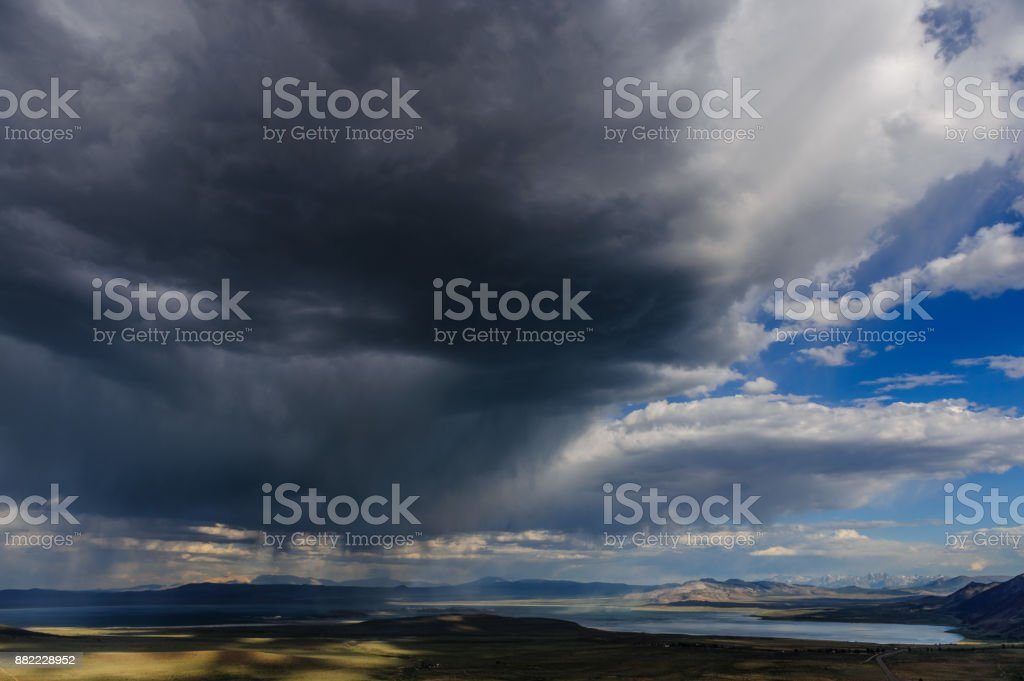 Storm clouds over Mono Lake stock photo