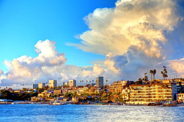 Storm clouds over Newport Beach, California stock photo